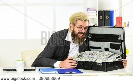 Businessman With Cash. Bank Account. Credit And Cash Concept. Corporate Finance. Economics Concept.
