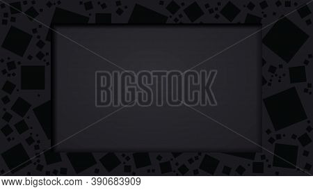 Black Frame Or Hole With Square Pattern And And Soft Shadow With Your Ad Text. Vector Illustrator