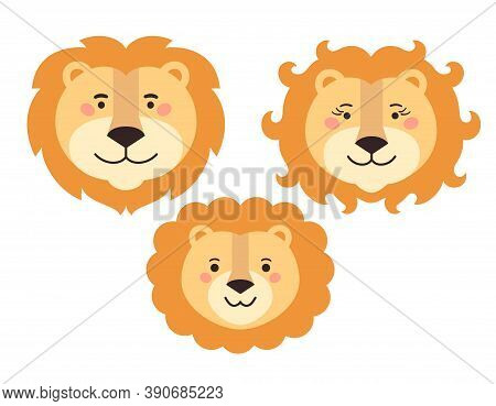 Lions Family Cartoon Faces. Lion Daddy, Mommy And Baby.