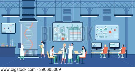 Medical Scientist Working In Science Researching Lab Flat Vector Illustration. Cartoon Chemists Stud