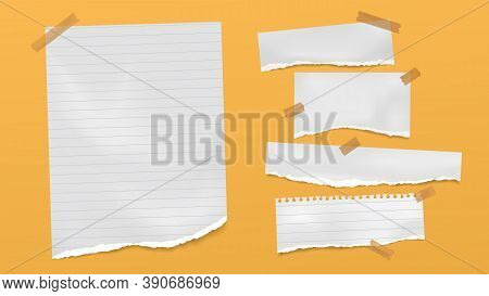 Set Of Torn Of White, Gray And Colorful Note, Notebook Paper Strips And Pieces Stuck On Black And Gr