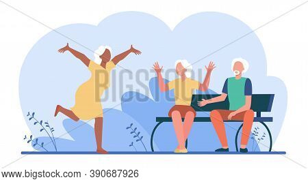 Aged Woman Running To Friends To Say Hello. Vacation, Relaxation. Flat Vector Illustration. Leisure