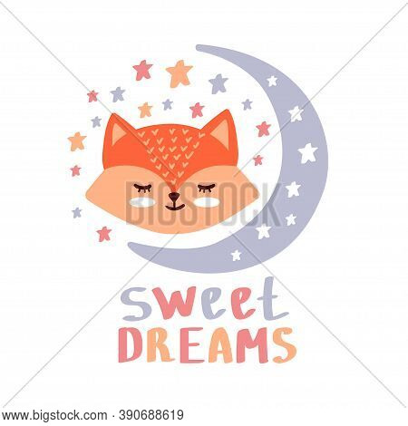 Sweet Dreams Hand Lettering. Vector Cute Illustration With Cartoon Symbols Red Fox And Stars For Pos