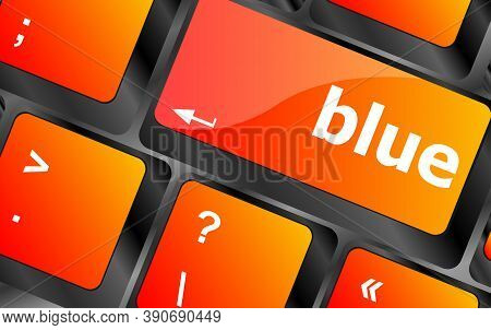Blue Button On Computer Pc Keyboard Key