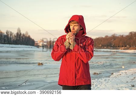 Winter Flu. Flu And Cold. Love Winter Nature. Man In Red Parka. Winter Male Fashion. Warm Clothes Fo