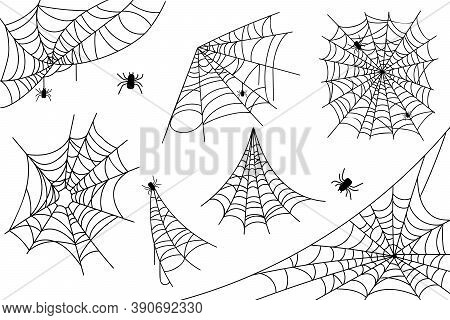 Irregular Realistic Spider Webs In Different Shapes For Halloween Holiday. Collection Of Cobweb Elem