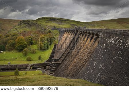 The Claerwen Reservoir In Powys, The Last Additions To The Elan Valley Reservoirs System In Wales Uk