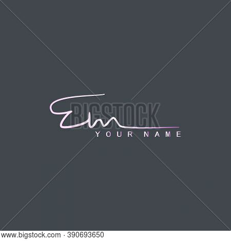 Pinky Signature Logo E And M, Em Initial Letter Logo Design. Handwriting Calligraphic Signature Logo