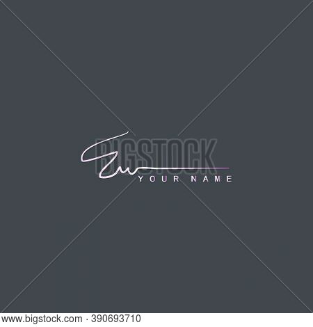 Pinky Signature Logo E And W, Ew Initial Letter Logo Design. Handwriting Calligraphic Signature Logo