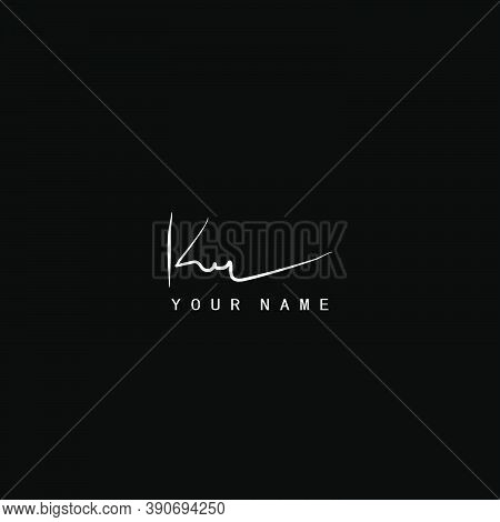 Signature Logo  K And R, Kr Initial Letter. Handwriting Calligraphic Signature Logo Design.