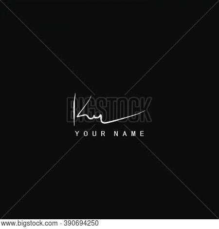 Signature Logo  K And R, Kr Initial Letter. Handwriting Calligraphic Signature Logo Design.