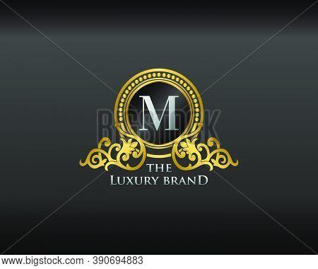 Gold Luxury Brand Letter M Elegant Logo Badge. Golden Letter Initial Crest,  Wreath And Crown Monogr