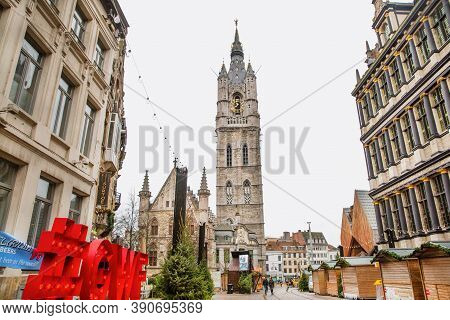 16 December 2019, Ghent, Belgium. Christmas Market In The Old Town. Decorated Historical Building, I