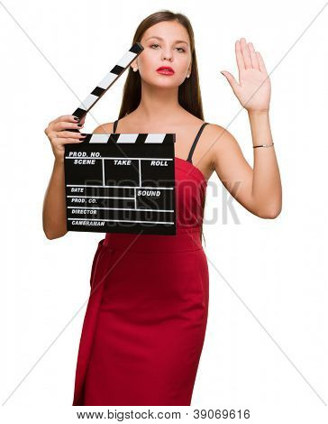 Young Woman Holding Clapper Board On White Background