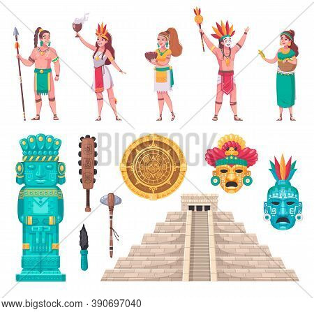Maya Ancient Civilization Architectural Monuments Staircase Temple Sculpture Artifacts People Cartoo
