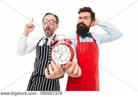 Lack Of Time. Check What Time Is It. It Is Lunch Time. Men Cooks With Alarm Clock. Failed Deadline.