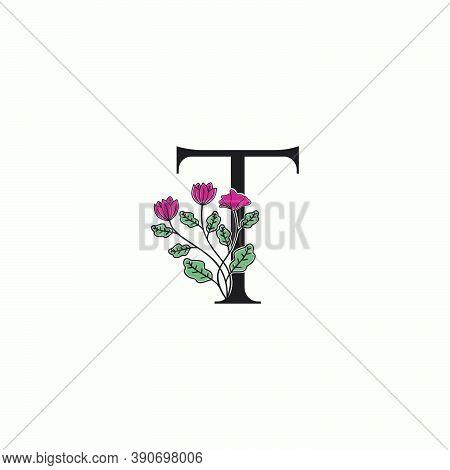 Elegance Nature Flower Initial Letter T Logo Icon In Vector Ornate Floral Leaf Clip Art Template Des