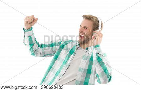 Positive Vibes. Good Mood. Man Listening Music Wireless Headphones. Hipster Headphones Gadget. Rhyth