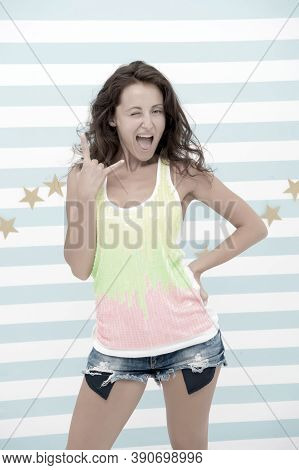 Hey Girl. Happy Girl With Cool Gesture On Colorful Background. Happy Cool Woman With Long Wavy Hair.