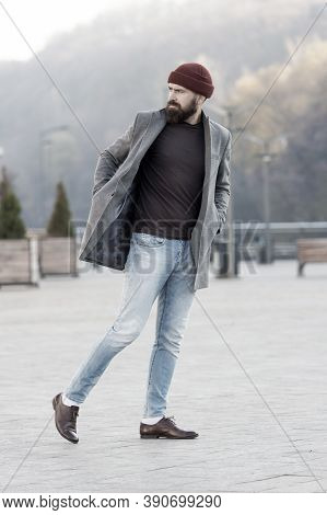 Hipster Outfit And Hat Accessory. Stylish Casual Outfit Spring Season. Menswear And Male Fashion Con