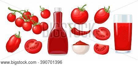 Ketchup Bottle, Chilli, Tomato Sauce In A Plate, Juice, Branch, Half And Slice And Slice Tomatoes. V