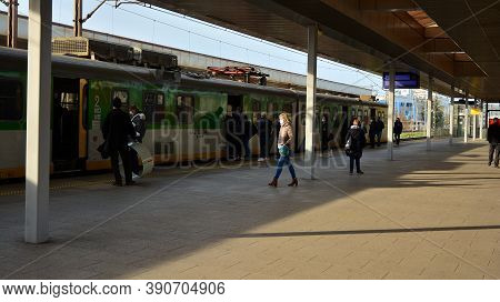 Warsaw, Poland. 20 October 2020. People Wearing Face Masks Wait For A Train At Warszawa Stadion Stat
