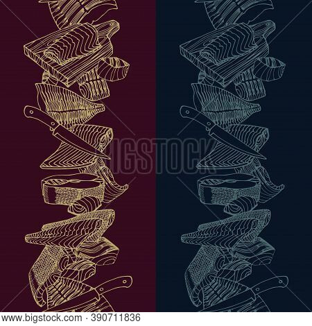 Vertical Seamless Pattern. Fish Fillets Of Cod, Salmon, Flounder. Delicious Seafood. Restaurant Menu