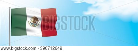 Mexico Flag Waving On A Blue Sky Background. Horizontal Vector Banner Design, With The Official Flag