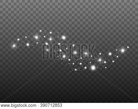 Glitter Wave On Transparent Backdrop. Silver Light With Shining Stars. Sparkling Trail Effect. Luxur