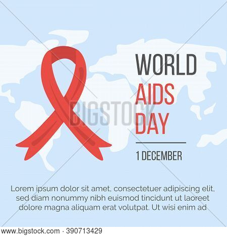 World Aids Day Web Banner With Red Ribbon On World Map On Background And Place For Text. Poster For