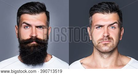 Bearded Man With Beard And Mustache In Barbershop. Shaved Vs Unshaven Barber Hair Salon