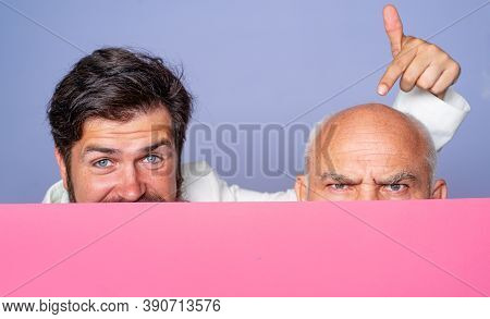 Handsome Bearded Man With Hair Or Bald Senior In Barbershop. Two Portraits Of A Aged Bald Man Before
