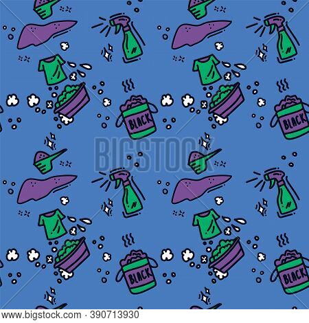 Vector Background For Laundry In Doodle Style. Pattern In The Form Of Laundry Accessories In The Lau