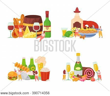 Alcoholic Drinks Cocktails Party Aperitif With Beer Wine Cheese Cake Snacks Beer 4 Flat Compositions