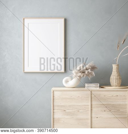 Mock Up Frame In Home Interior Background With Minimal Decor, 3d Illustration