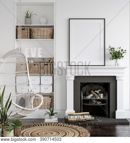 Frame Mockup With Plants Standing On Fireplace, White Living Room Interior, 3d Illustration