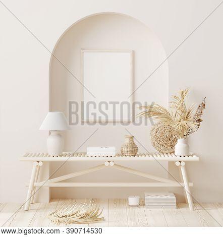 Mock Up Frame In Home Interior Background With Minimal Decor, 3d Illustration