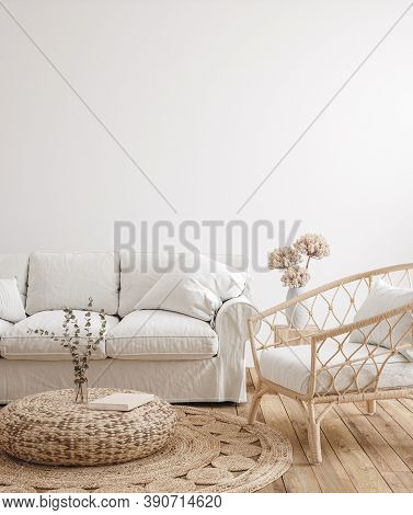 Farmhouse Living Room Interior Background,wall Mockup, 3d Illustration