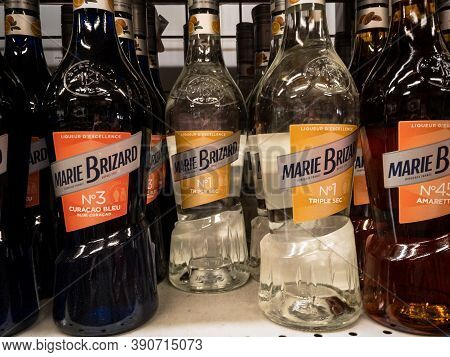 Belgrade, Serbia - August 6, 2020: Marie Brizard Logo On Bottles Of Their Liquors For Sale In Belgra