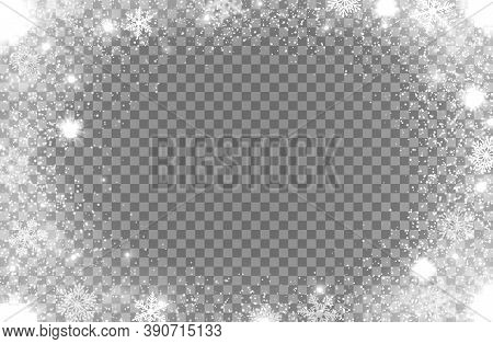 Snowflakes And Snow Glitter Light Frame On Vector Transparent Background For Christmas And New Year