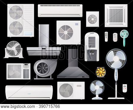 Air Conditioners, Fans And Range Hoods Vector Icons Set Of Conditioning, Home And Industrial Ventila
