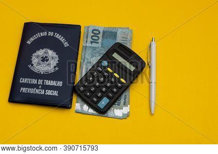 Translation: Federative Republic Of Brazil, Ministry Of Labor. / Brazilian Work Card. Brazilian Bank