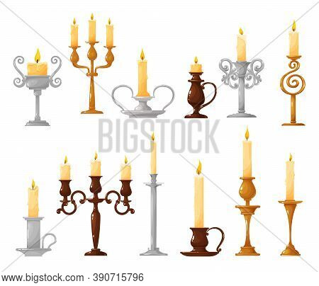 Candlestick With Burning Candle Cartoon Vector Icons. Candle Holder And Vintage Candelabra With Melt