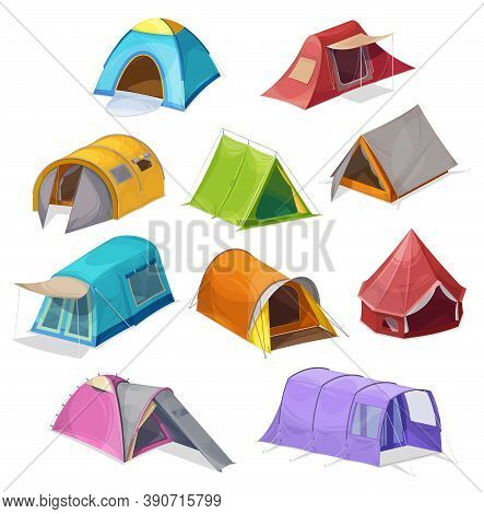 Cartoon Tents Vector Icons, Camping Equipment, Campsite Domes, Houses For Outdoor Recreation And Hik
