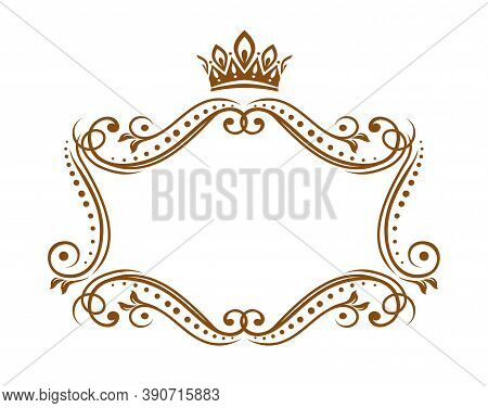 Royal Medieval Frame With Crown, Vector Embellishment Border With Flourishes And Floral Ornament. El