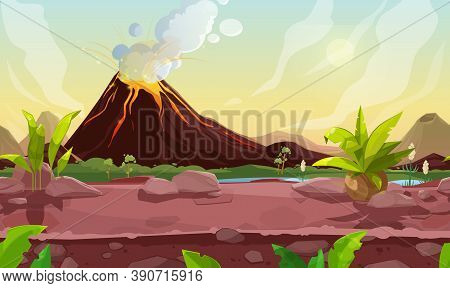 Prehistoric Steaming Volcano Pc Game Scene, Cartoon Vector Volcanic Background With Palm Trees, Rive