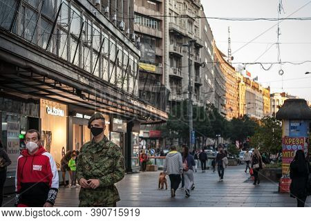 Belgrade, Serbia - October 10, 2020: Two Men, Including A Soldier From The Serbian Army In Uniform W