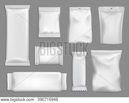 Snack Packages Vector Mockup, Sachet Or Pouch Bags Isolated 3d Template. Foil, Plastic Or Paper Whit