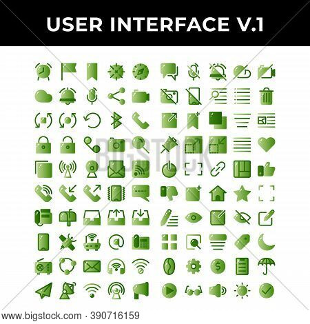 User Interface Icon Set Include Alarm, Checkpoint, Bookmark, Location, Compass