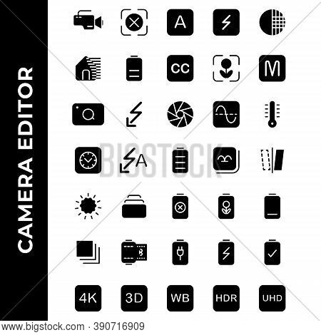 Camera Editor Icon Set Include Camera,flash,photo Filter,power,resolution,gallery,image,battery